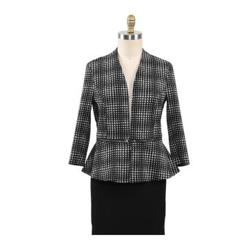 Fashion Office Ladies Black Houndstooth Coats