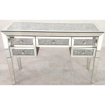 Crushed diamond 5 drawer dressing table cabinet