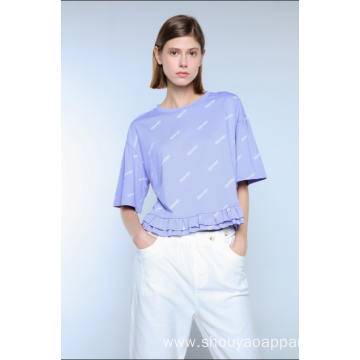 LADIES CROPPED PRINT T-SHIRT WITH FRILLS