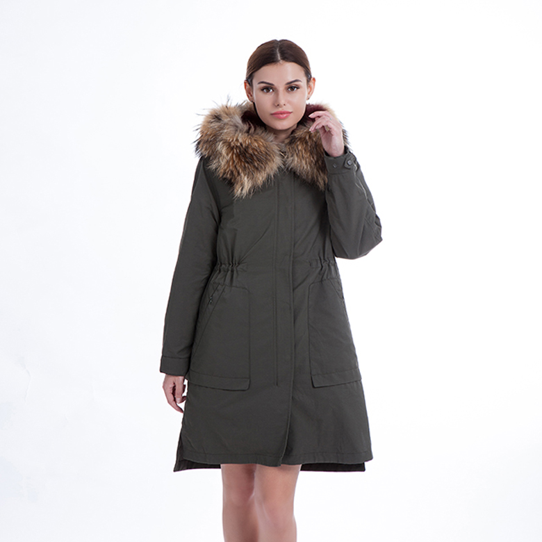 Fur-lined long parka for ladies