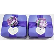 Purple Wedding Tin Box with Flower Decration