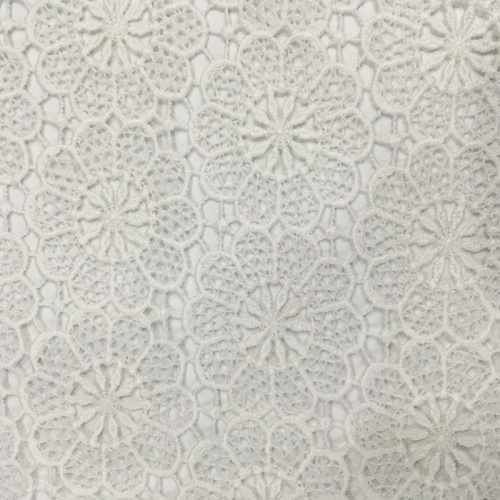 White Sun Flower Polyester Yarn Chemical Lace Fabric
