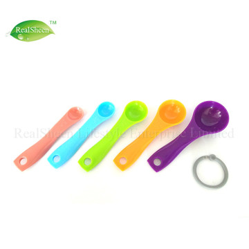 5 Piece Multi Colored Plastic Measuring Spoons Set