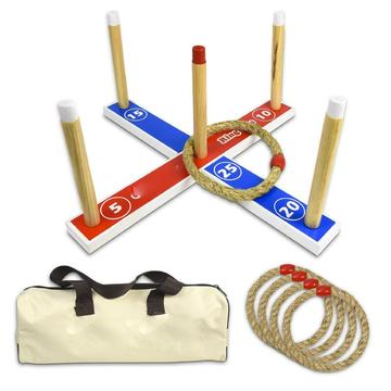Wooden Ring Toss Game with Carrying Case
