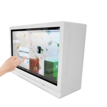 Transparente Digital Signage Vitrine mit Touchscreen