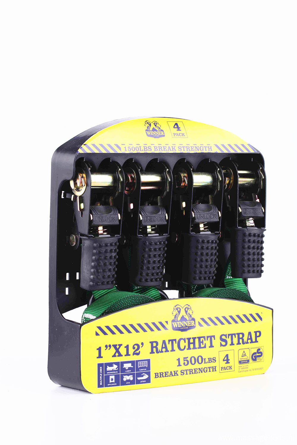4PK Rubber Handle Easy Operation Ratchet Straps With 1500LBS