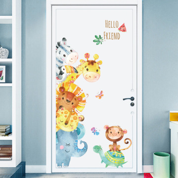 Hand Paint Style Cartoon Door stickers Animal Wall Stickers for Kids RoomArt Design Decorative Stickers Wall Decals Home Decor