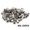 200/50 PCS Stainless Steel Flat Head Rivet Nuts Set M3 M4 M5 M6 Insert Reveting Multi Size Stainless Steel Rivet Nut Set