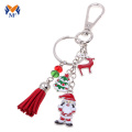 Christmas wholesale metal and leather tassel keychain