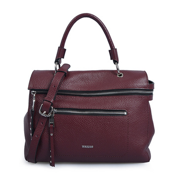 Double Zip Leather Satchel Top-handle Tote Bags