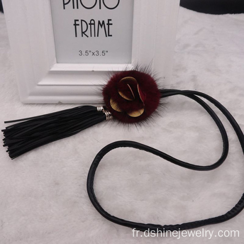 Mode fourrure Rose Ball Tassel Collier Colliers