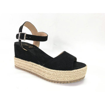 Womens Espadrille Platform Sandals With Microfiber Wedge