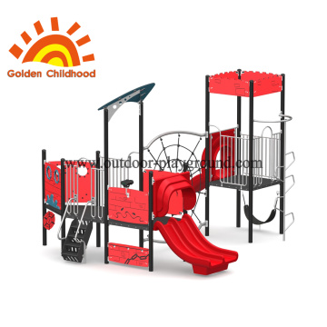 Outdoor Climbing Tower Equipment Red For Children