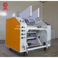 Semi-automatic stretch film rewinder slitter