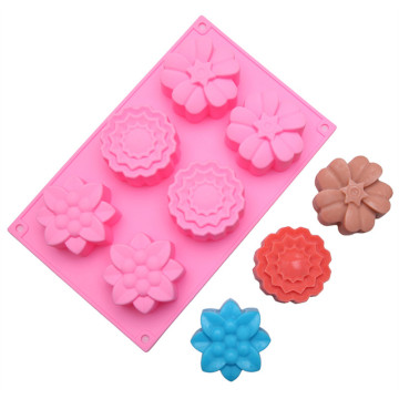 6cups flower shape silicone moon cake mold