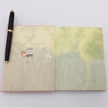 Paper cartoon notebook with colored pages