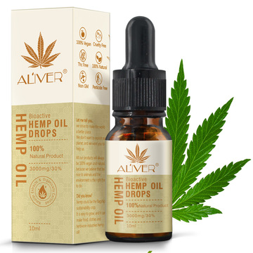 Aliver Herbel Organic Hemp Seed Oil Massage Essential Oil CBD Oil Soomthing Pressure Pain Improve Sleep Relieve Stress 10ml
