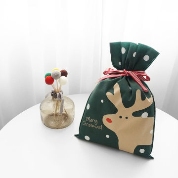 Handprint Reindeer Craft Drawstring Gift Bags