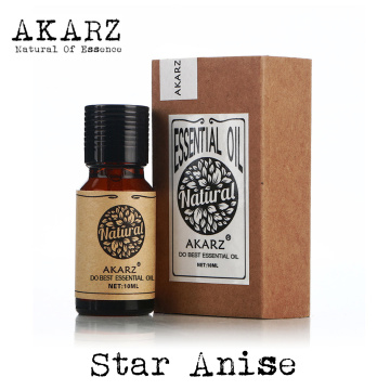 AKARZ Famous brand natural aromatherapy Star anise essential oil Stomach flatulence Cure sore throat Star anise oil