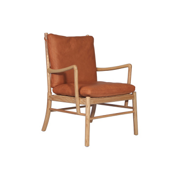 Wood Dining Chair with Light Brown Leather Seat