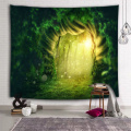 Tree Hole Wall Tapestry Forest Dream Sunlight Green Tapestry Wall Hanging for Livingroom Bedroom Dorm Home Decor