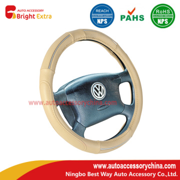 Cream Steering Wheel Cover With Chrome Trim