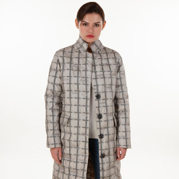Fashionable plaid down jacket