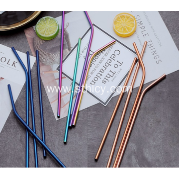 304 Stainless Steel Delicate Color Straw With Brush