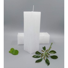 White Unscented Square Pillar Wax