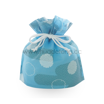 Sky Blue Dots Pattern Japan Drawstring Lunch Bag