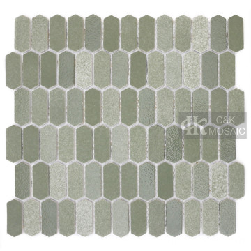 Picket Green Glass Mosaic Tile Kitchen Backsplash