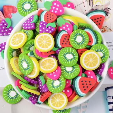 2cm 20Pcs/Lot Colorful Clay Fruit Slice Watermalen Grape Lemon Polymer Clay DIY Decoration Handmade Craft