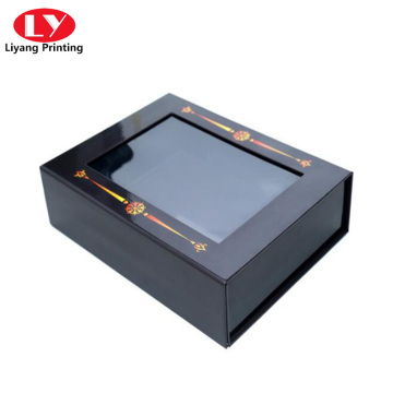 PVC window magnetic closure cosmetic gift packaging box