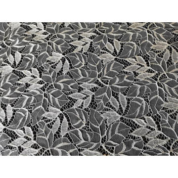Nylon Polyester Leaf Pattern Cord Lace Fabric