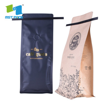 Gravure printing custom materials coffee bag with Tin-tie