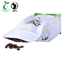 Coffee Packaging Companies Biodegradable Resealable Flat Bottom Pouches Bags