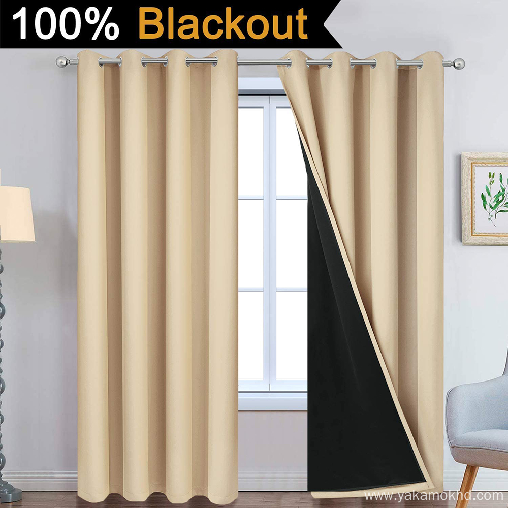 Beige 100% Blackout Curtains 96 Inch Long