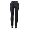 MID Waist Black Skinny Stretch Denim Jeans for Ladies