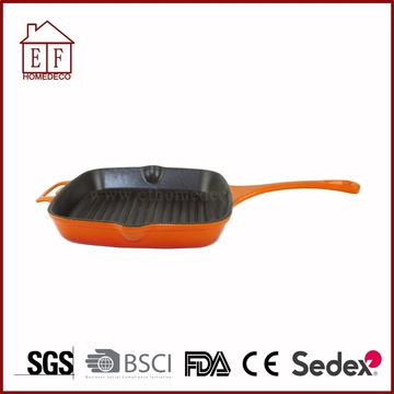Enameled Solid Cast Iron Grill Pan