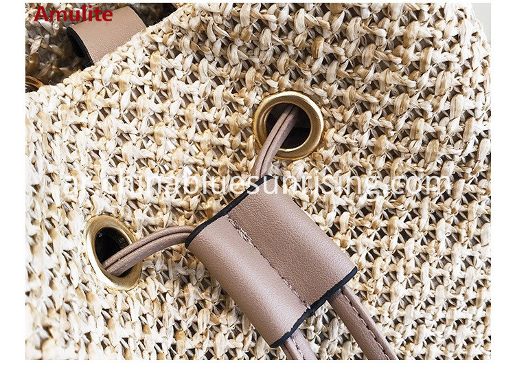 summer bamboo handle bucket straw bag