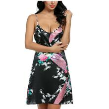 Satin Night Dress Women Nightgown Nightwear Night Shirts Casual Print Mini Dress Big Size Sleepshirt Chemise Nighty White XXL Yp