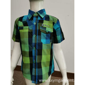 kids t/c 65/35 y/d check casual shirt