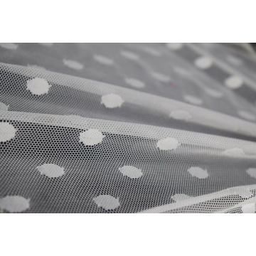 Nylon Spandex White Dots Mesh Fabric
