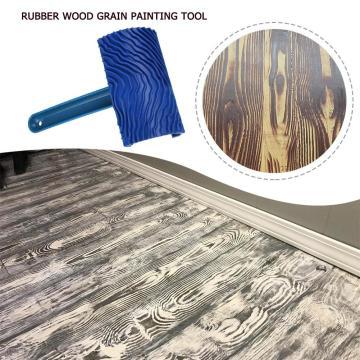 Blue Rubber Wood Grain Paint Roller Brush DIY Graining Painting Tool Wood Grain Pattern Wall Art Painting Roller Home Tool