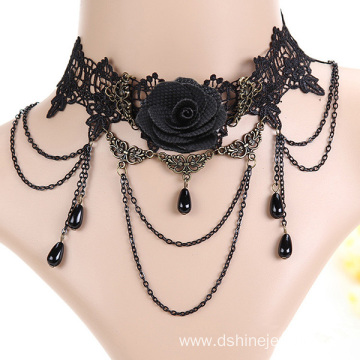 Rose Lace Charm Necklace Metal bib Necklace Choker