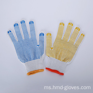 Keselamatan PVC Dotted Cotton Gloves Garden