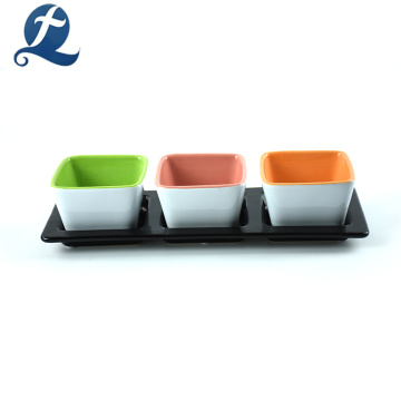 Indoor Modern White Mini Square Ceramic 3 pcs Flower Pots