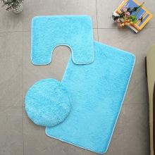 Microfiber Bathroom Rugs Set Shaggy Soft Bath Mat & U-Shaped Toilet Rug Non-Slip Machine Wash Dry Absorbent