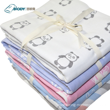 Custom Logo Animal Printed Baby Multilayer Blanket