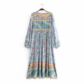 Printing Loose Casual Long Style Dress With Bow